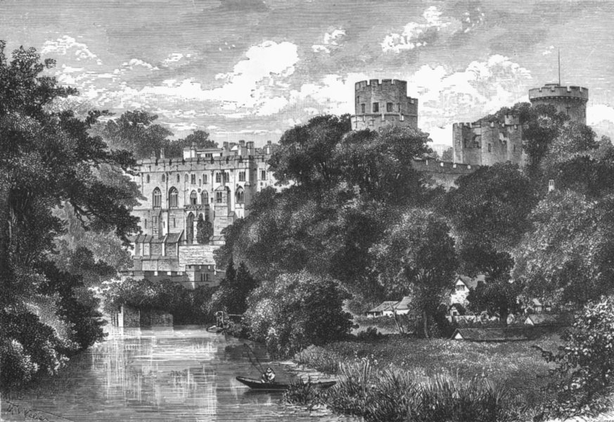 Associate Product WARCS. Warwick Castle c1885 old antique vintage print picture