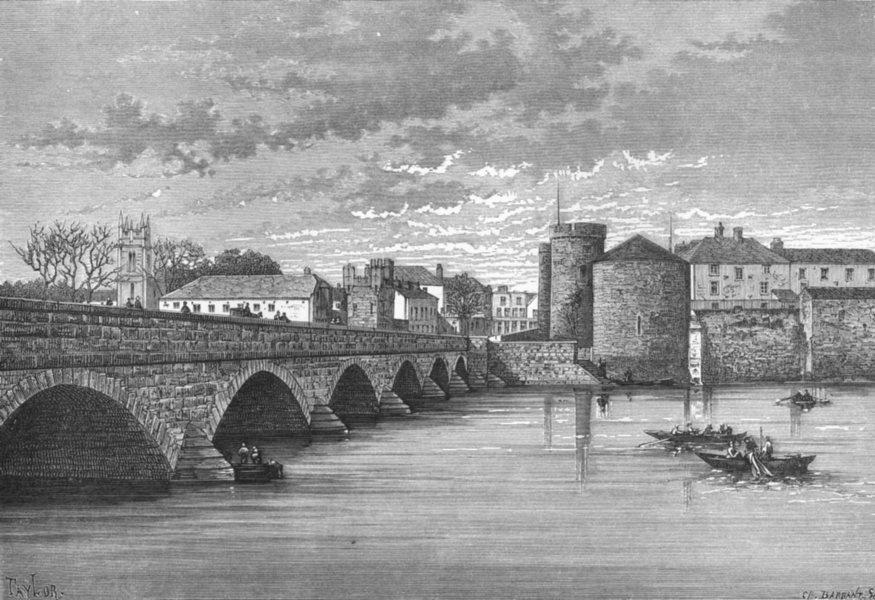 Associate Product LIMERICK. Thomond's bridge & King John's Castle c1885 old antique print