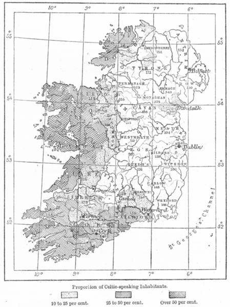 IRELAND. Linguistic, sketch map c1885 old antique vintage plan chart