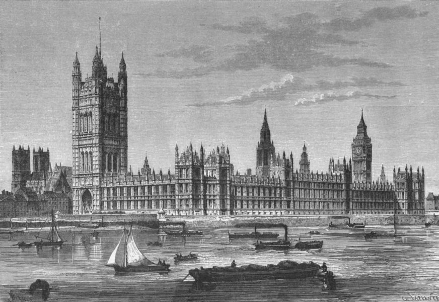 Associate Product LONDON. Houses of Parliament, from Lambeth c1885 old antique print picture