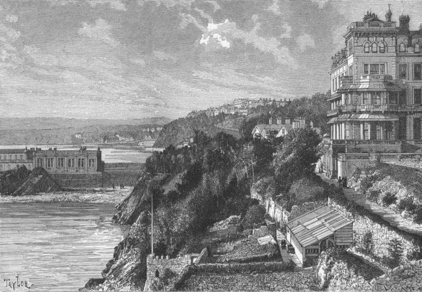 Associate Product DEVON. Torquay, from land's end c1885 old antique vintage print picture