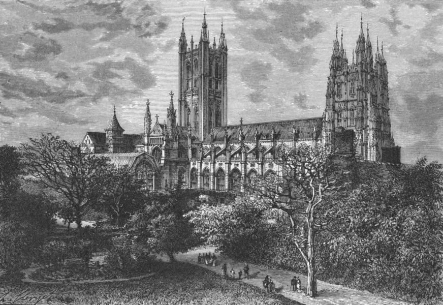 KENT. Canterbury cathedral c1885 old antique vintage print picture