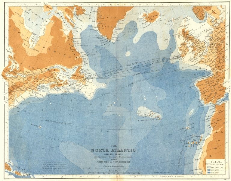 Associate Product NORTH ATLANTIC. Telegraph cable routes c1885 old antique map plan chart