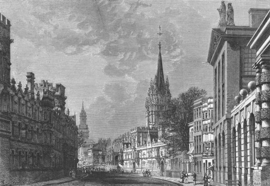 Associate Product OXON. Oxford-High Street c1885 old antique vintage print picture
