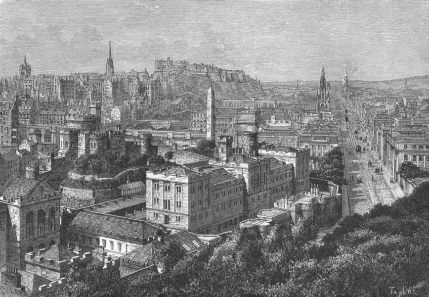 Associate Product SCOTLAND. Edinburgh, from Calton Hill c1885 old antique vintage print picture