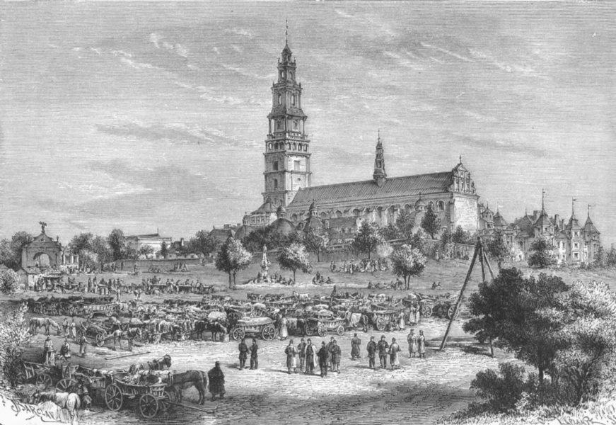 Associate Product POLAND. Convent of Czestochowa c1885 old antique vintage print picture