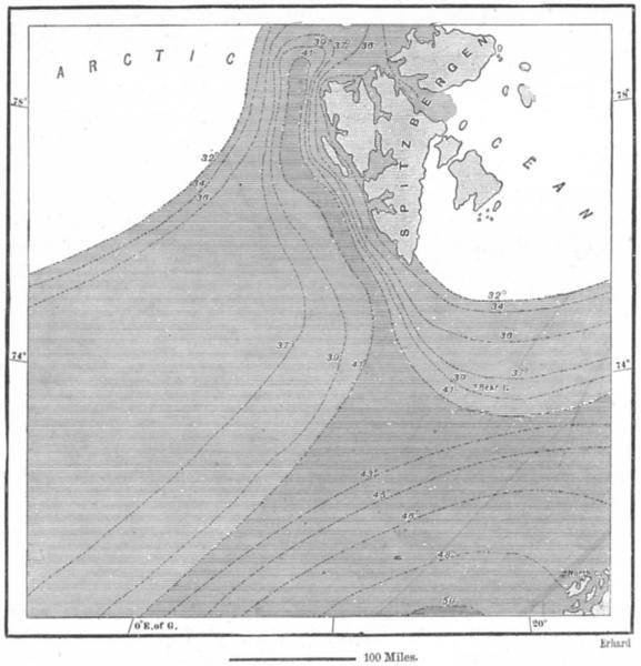 Associate Product ATLANTIC. Summer sea temperature 1868 c1885 old antique vintage map plan chart