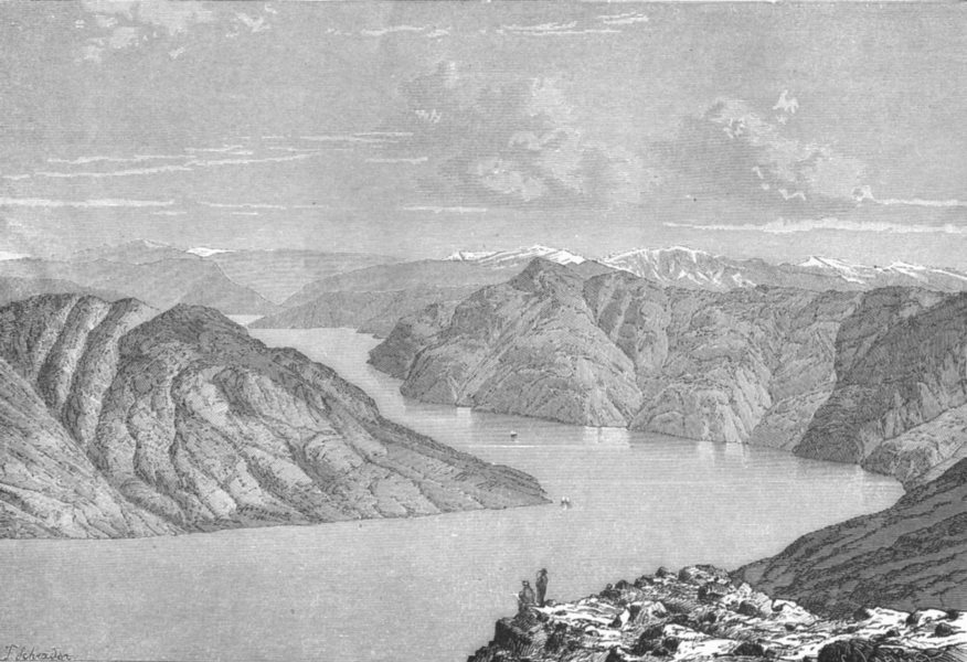 Associate Product NORWAY. Lyster-Fiord, North branch of Sognefjord c1885 old antique print