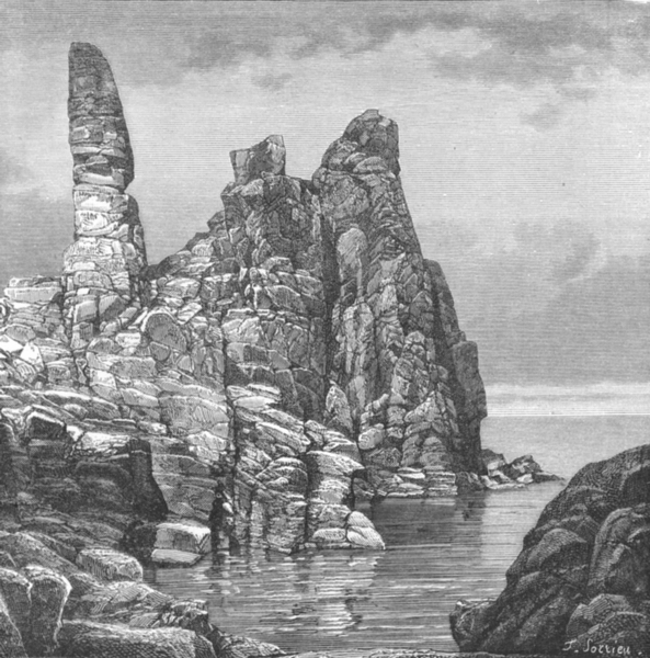 DENMARK. Helligdommen Rocks, N Coast, Bornholm c1885 old antique print picture