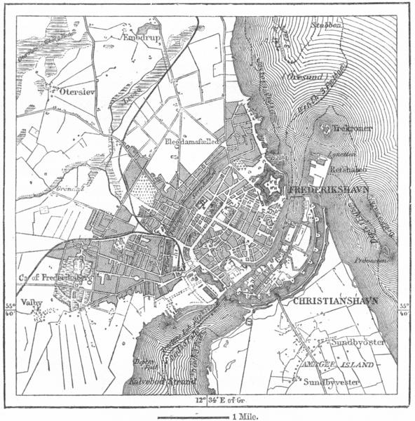 Associate Product DENMARK. Copenhagen, sketch map c1885 old antique vintage plan chart