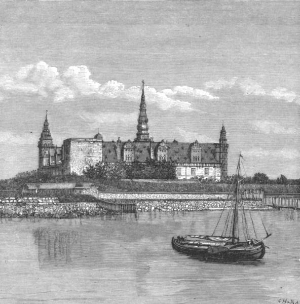 Associate Product DENMARK. Kronborg Castle, Sound c1885 old antique vintage print picture