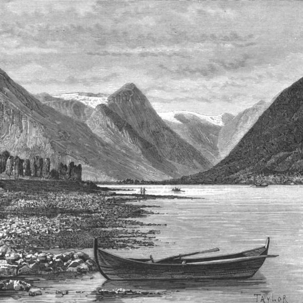 NORWAY. Fjaerland-Fiord c1885 old antique vintage print picture