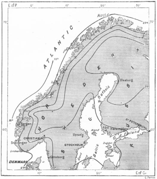 Associate Product SCANDINAVIA. Seasonal Temperature change, Mohn c1885 old antique map chart