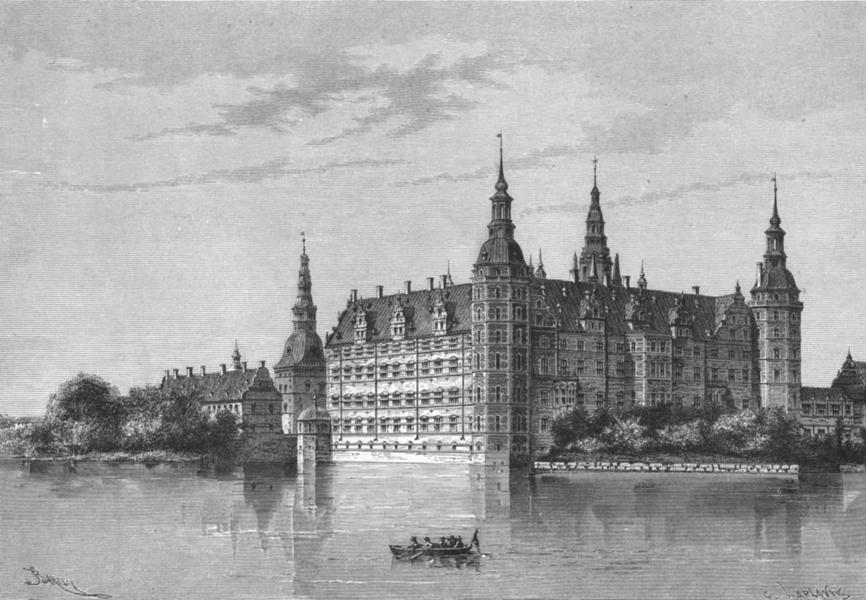 Associate Product DENMARK. Castle of Frederiksborg c1885 old antique vintage print picture