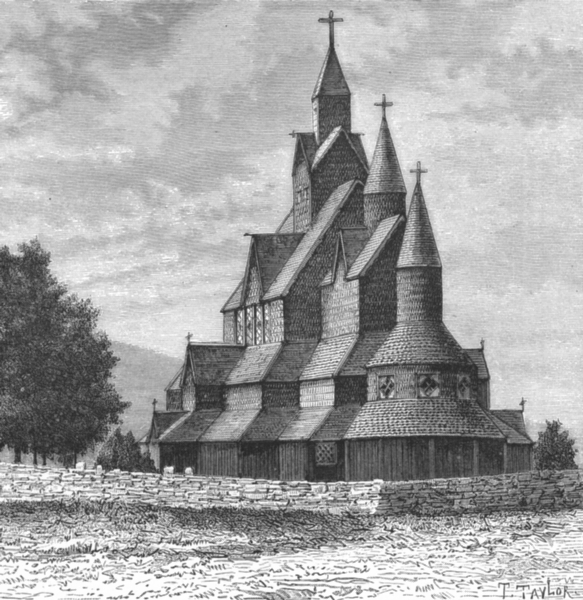 Associate Product NORWAY. Heddal Church c1885 old antique vintage print picture