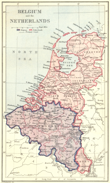 Associate Product BELGIUM. & Netherlands c1885 old antique vintage map plan chart