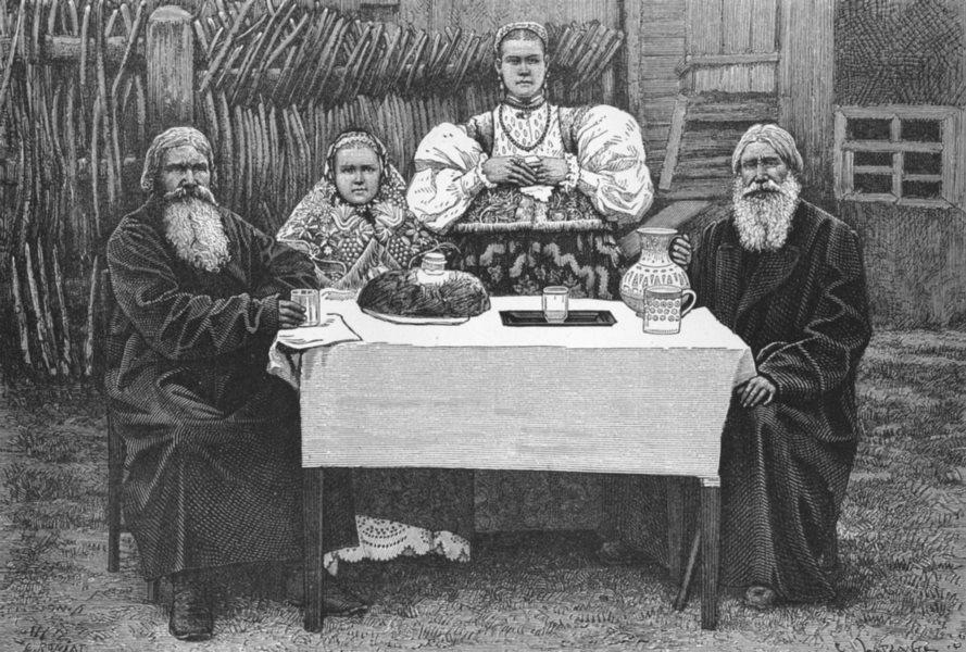 RUSSIA. Types & Costumes in Nijni-Novgorod c1885 old antique print picture