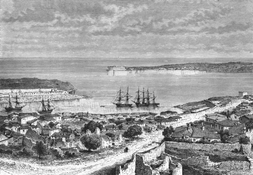 Associate Product UKRAINE. Bay of Sevastopol c1885 old antique vintage print picture