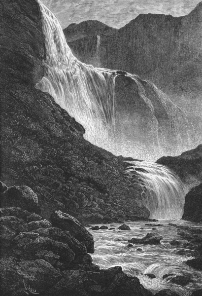 Associate Product NORWAY. Skjaeggedalsfossen, of Hardanger c1885 old antique print picture