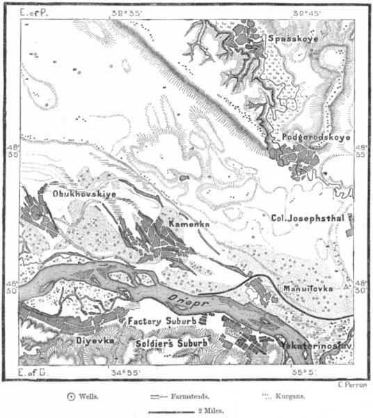 Associate Product RUSSIA. Kurgans Podgorodskoye, Yekaterinoslav c1885 old antique map plan chart