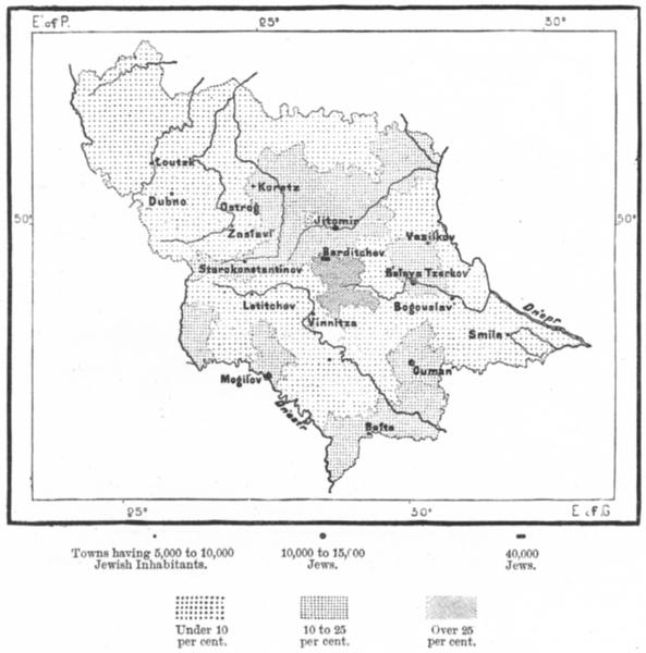 Associate Product VOLHYNIA. Jews, Podolia Kiev Tchubinskiy, sketch map c1885 old antique