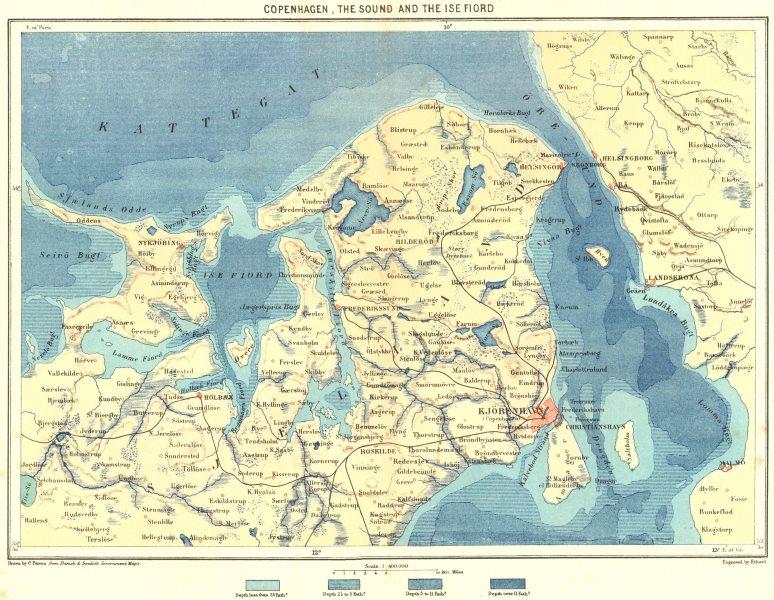 Associate Product DENMARK. Copenhagen, Sound & Ise Fiord c1885 old antique map plan chart