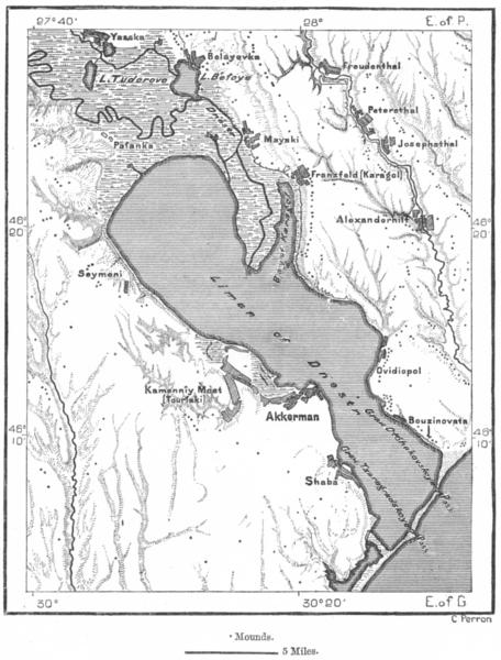 Associate Product RUSSIA. Akkerman & Dniester Liman, sketch map c1885 old antique plan chart