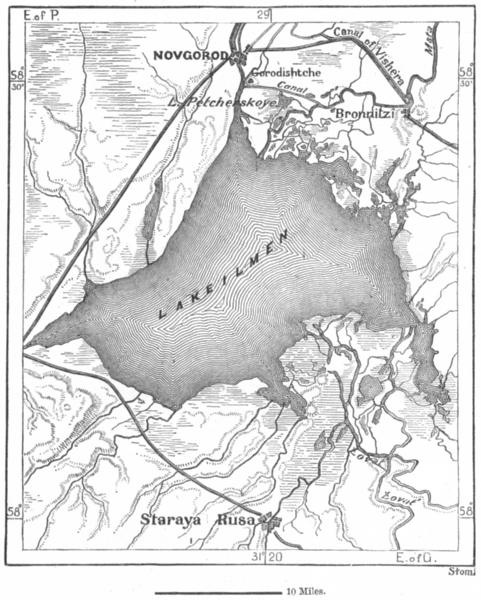 Associate Product NOVGOROD. Lake Ilmen & Staraya Rusa, sketch map c1885 old antique chart