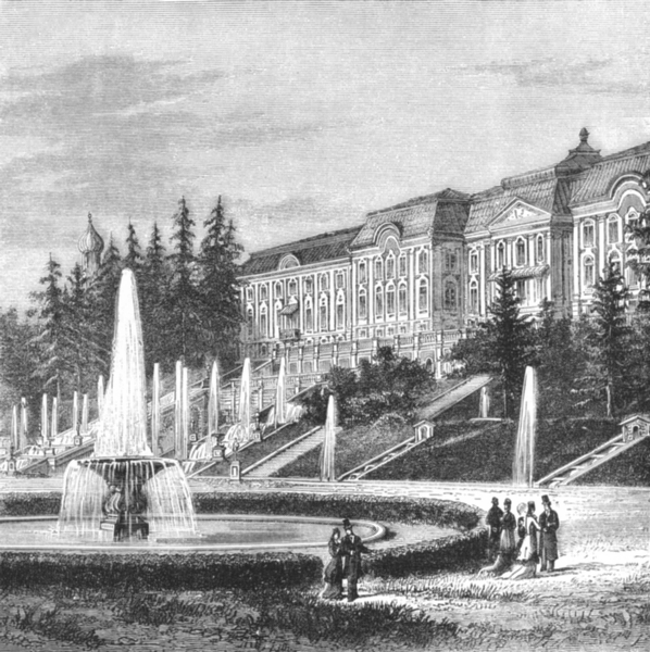 Associate Product ST PETERSBURG. Imperial Palace of Peterhof c1885 old antique print picture