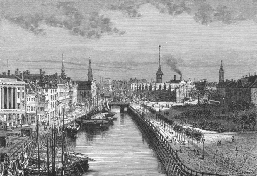 Associate Product COPENHAGEN. Slots Canal, Castle Christiansberg c1885 old antique print picture
