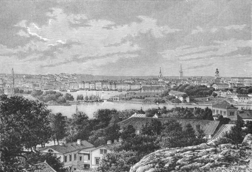 Associate Product SWEDEN. Stockholm, from Saltsjon c1885 old antique vintage print picture