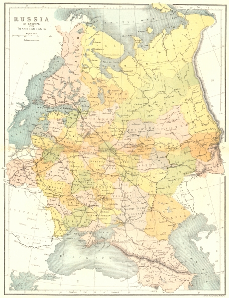 Associate Product RUSSIA. In Europe Transcaucasia c1885 old antique vintage map plan chart