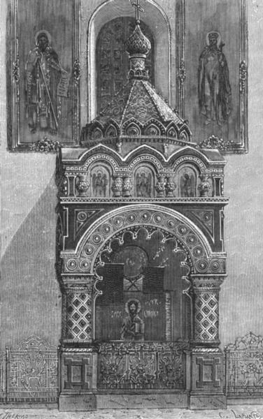 NIJNI-NOVGOROD. Tomb Minin, Church Transfiguration c1885 old antique print