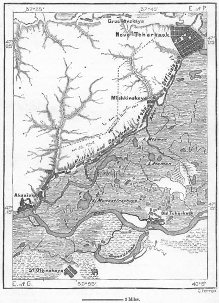 Associate Product RUSSIA. Novo-Cherkask, sketch map c1885 old antique vintage plan chart