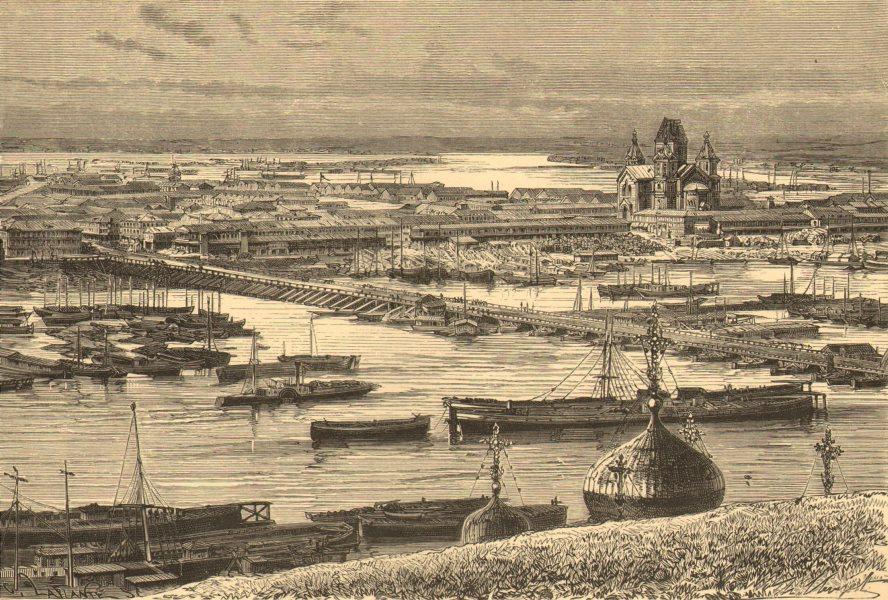 Associate Product RUSSIA. Nijni-Novgorod, right bank of Oka c1885 old antique print picture