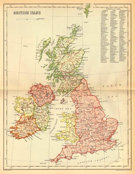 Associate Product UK. British Isles c1885 old antique vintage map plan chart
