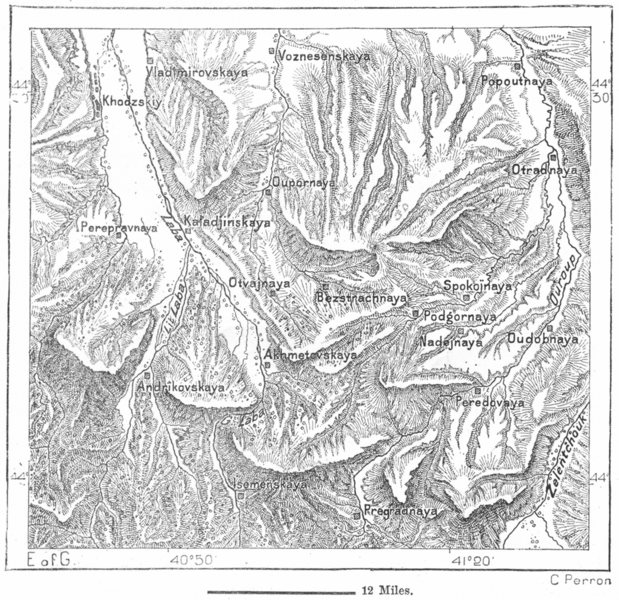 Associate Product KUBAN BASIN. Valleys of Erosion, sketch map c1885 old antique plan chart