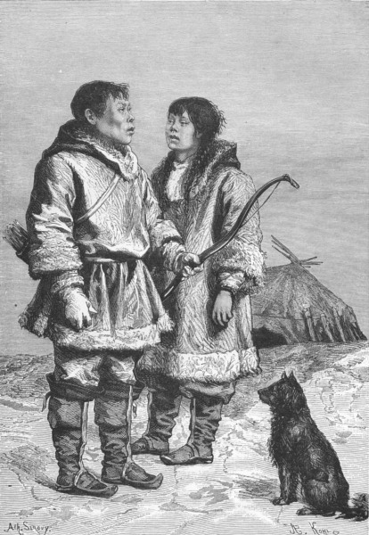 RUSSIA. Chukchi types & costumes c1885 old antique vintage print picture