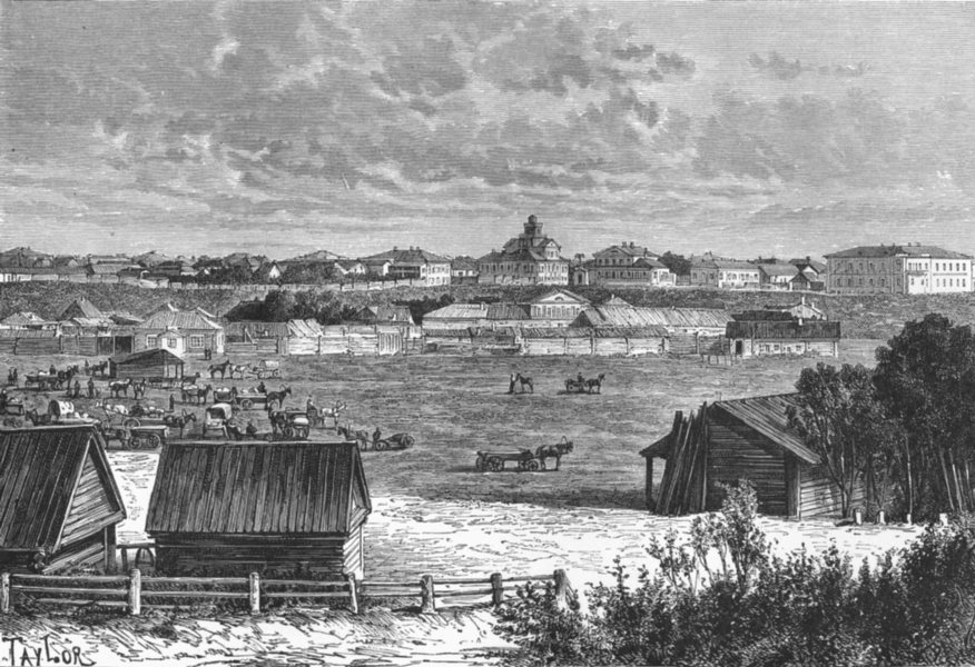 Associate Product RUSSIA. Omsk c1885 old antique vintage print picture