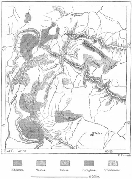 Associate Product GEORGIA. Khevsur, Tush & Pshav Lands, sketch map c1885 old antique chart