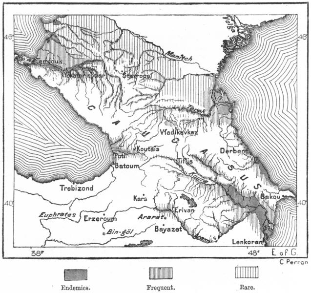 Associate Product CAUCASUS. Fever Districts Caucasia, sketch map c1885 old antique chart
