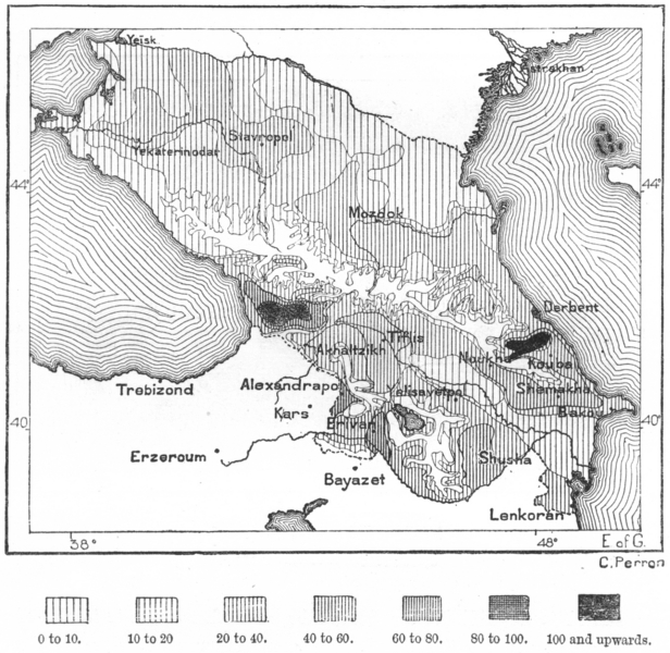 Associate Product CAUCASUS. Density population 1873, sketch map c1885 old antique plan chart