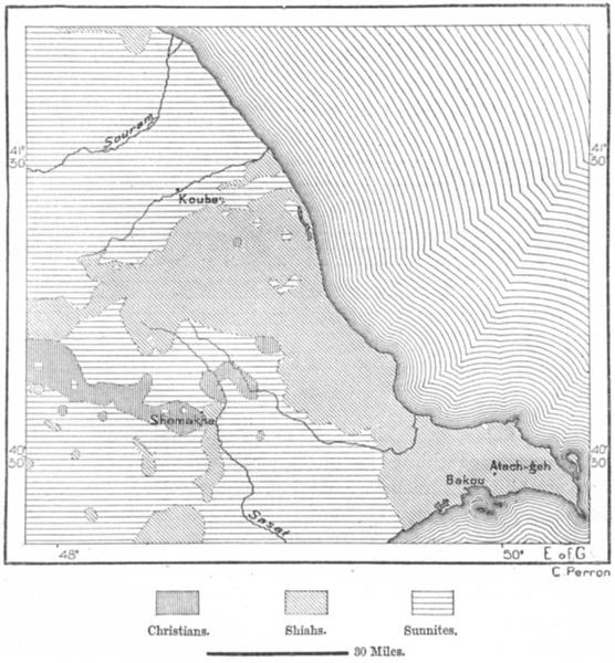 Associate Product CAUCASUS. Shiahs Sunnites E Caucasia, sketch map c1885 old antique chart