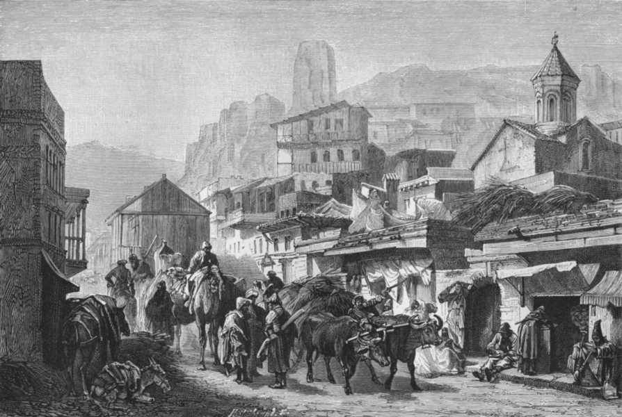 Associate Product GEORGIA. A St in Tblisi c1885 old antique vintage print picture