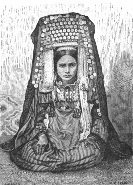 Associate Product ASIA. Turkoman Female Head-dress c1885 old antique vintage print picture