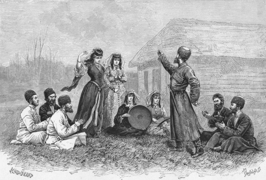 Associate Product GEORGIA. Imerian types & costumes-Dancers c1885 old antique print picture