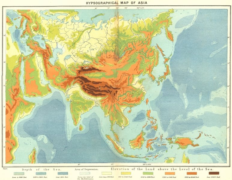 Associate Product ASIA. Hypsographical c1885 old antique vintage map plan chart