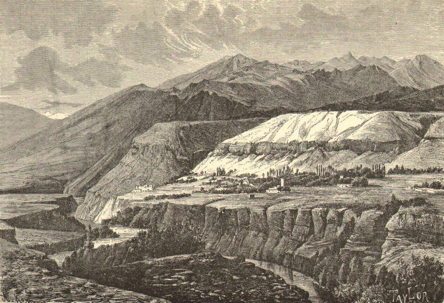 Associate Product UZBEKISTAN. Varzaminor. Upper Zaravshan Valley c1885 old antique print picture