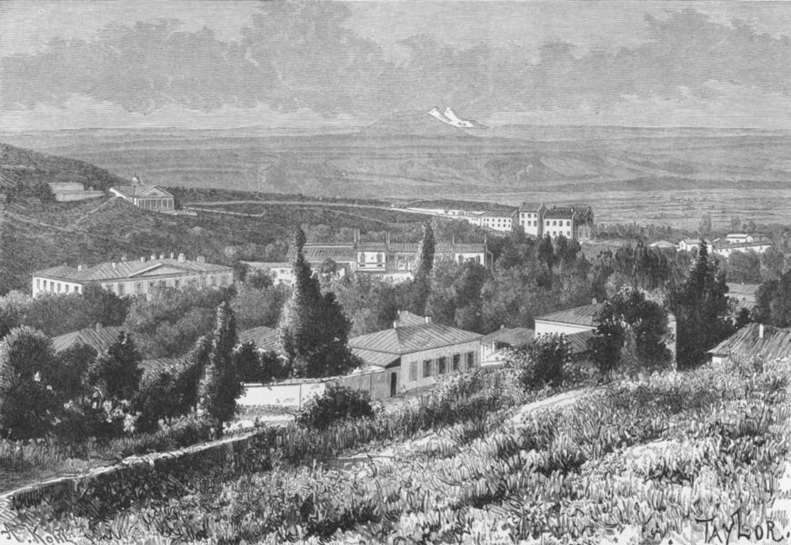 Associate Product RUSSIA. Pyatigorsk-view Mashuka slopes c1885 old antique vintage print picture