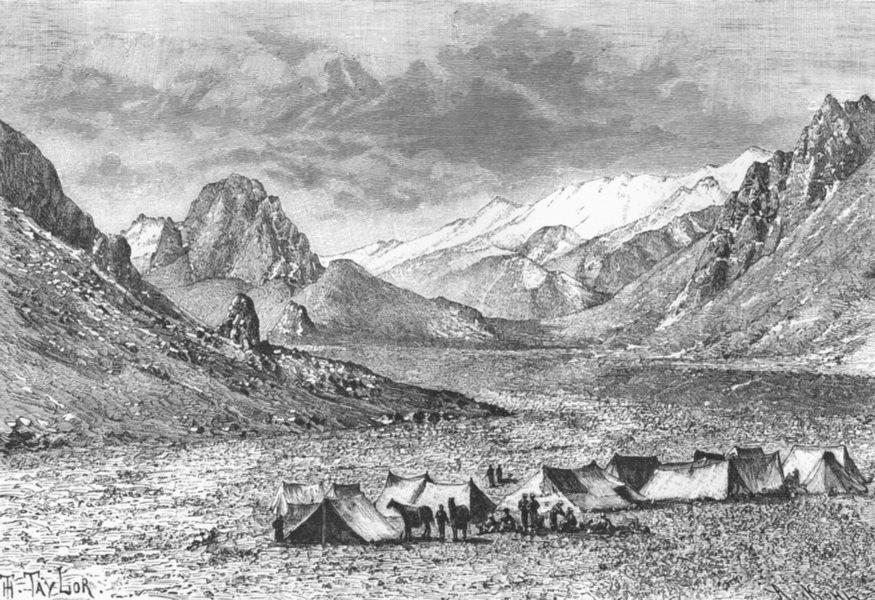 Associate Product INDIA. Upper Karakash Valley. Karakax. Jammu & Kashmir c1885 old antique print